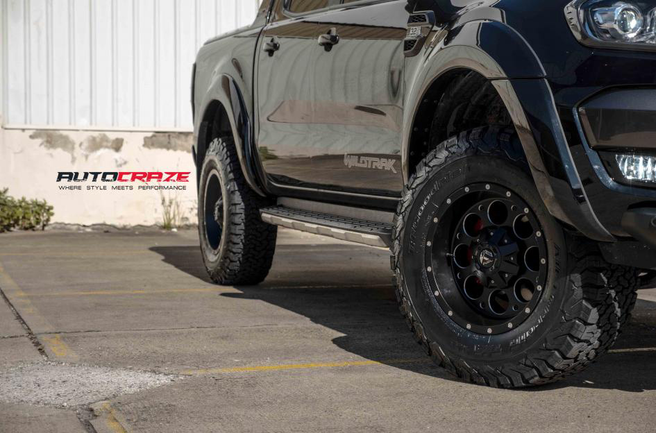 Andrea Revolving Ranger. A black Ford Ranger with 17 inch Fuel Revolver wheels in black milled accents finish. Wrapped with BF Goodrich KO2 tyres. A close up fitment shot of the Ford Ranger.