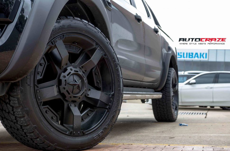 Black Ford Ranger KMC Rockstar XD 2 wheels matte black nitto terra grappler tyres fitment shot