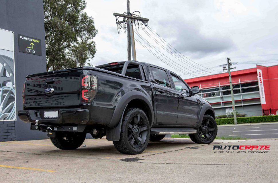 Black Ford Ranger KMC Rockstar XD 2 wheels matte black nitto terra grappler tyres rear shot