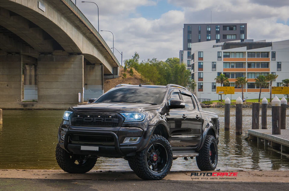 Ford Ranger Asanti AB811 Wheels Nitto Trail Grappler Mud Tyres LiftKit 4x4 Accessories Front Close Shot February 2018