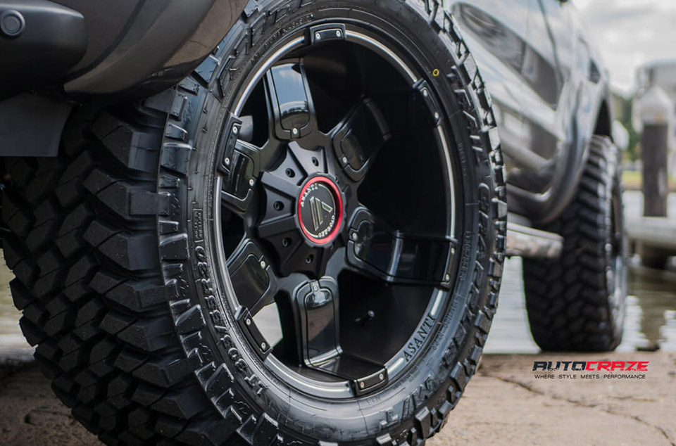 Ford Ranger Asanti AB811 Wheels Nitto Trail Grappler Mud Tyres LiftKit 4x4 Accessories Front Fitment Close Up Shot February 2018
