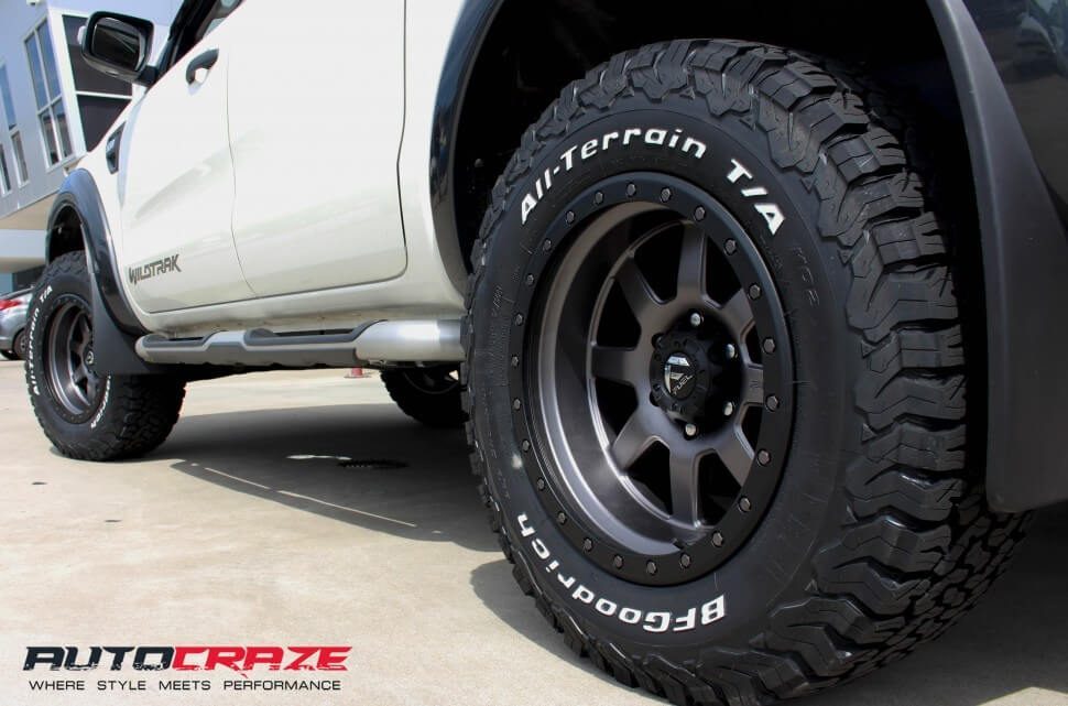 Ford Ranger White Fuel Trophy 18x10 BF Goodrich All Terrain Tyres Wide Wheel Shot