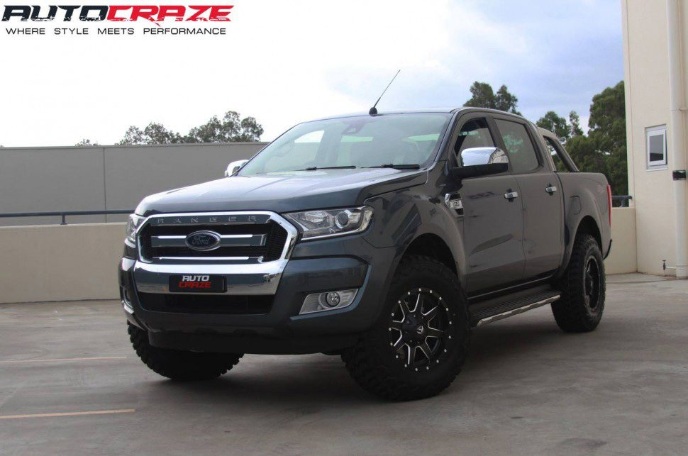 Grey Ford Ranger 17x8.5 Fuel Maverick Black Milled Wheels Hankook Tyres Front shot