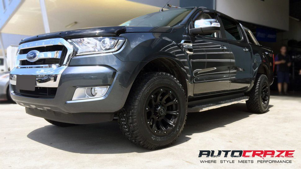 Grey Ford Ranger 17x9 Black Rhino Sidewinder Matte Black wheels BF Goodrich K0 26560R17 Tyres Front Shot