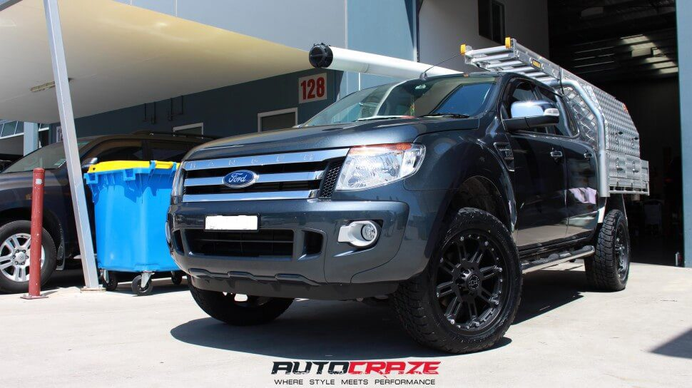 Grey Ford Ranger Black Rhino Rockwell 20x9 Matte Black Wheels