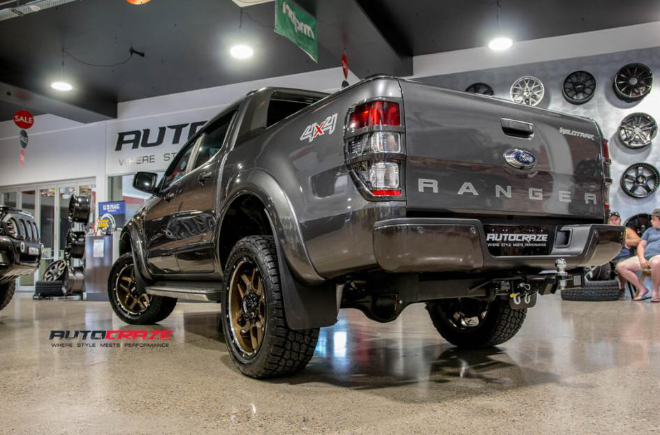 Megatron Grey Ford Ranger Grid GD07 Bronze wheels Nitto Terra Grappler Tyres rear shot