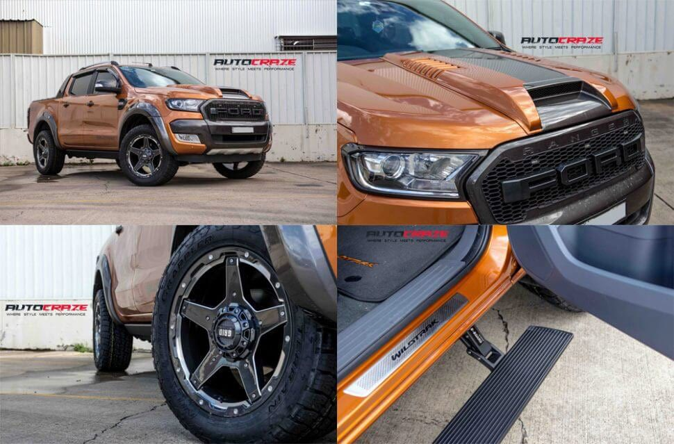 Orange Ford Ranger Wildtrack Showcase Picture Collage Bonnet Scoop Side Step Grid GD04 Nitto Terragrappler