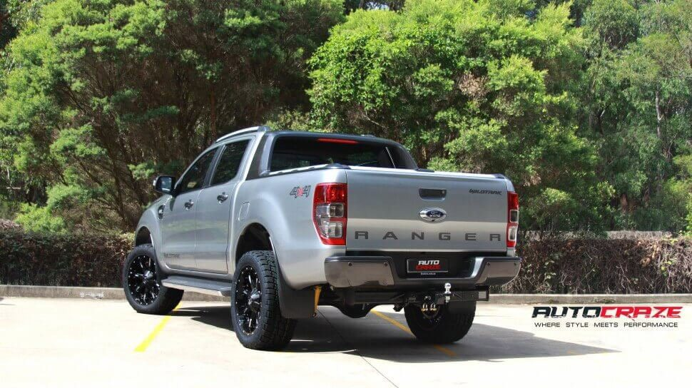 Silver Ford Ranger Fuel Nutz 20x9 Nitto Terragrappler Rear Wide Shot