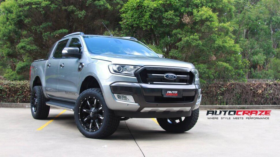 Silver Ford Ranger Fuel Nutz 20x9 Nitto Terragrappler Wide Shot