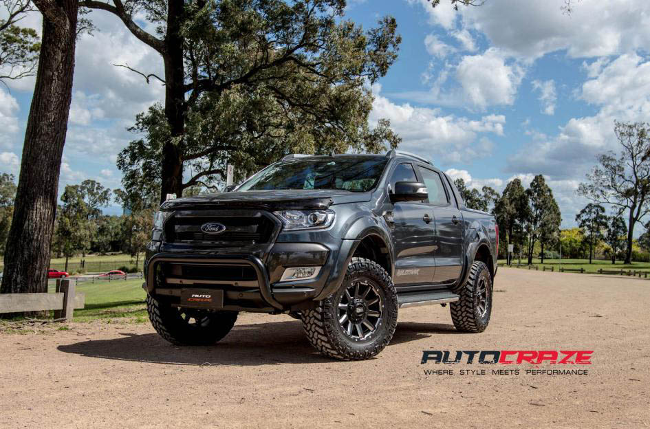 Sumo Ford Ranger Grid GD05 wheels matte black milled accent nitto trail grappler tyres front shot