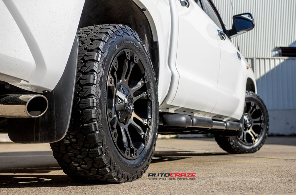 White Toyota Tundra Fuel Vapor Black Machined Dark Tint BF Goodrich All-Terrain Tyres Rear Close Up Fitment Shot