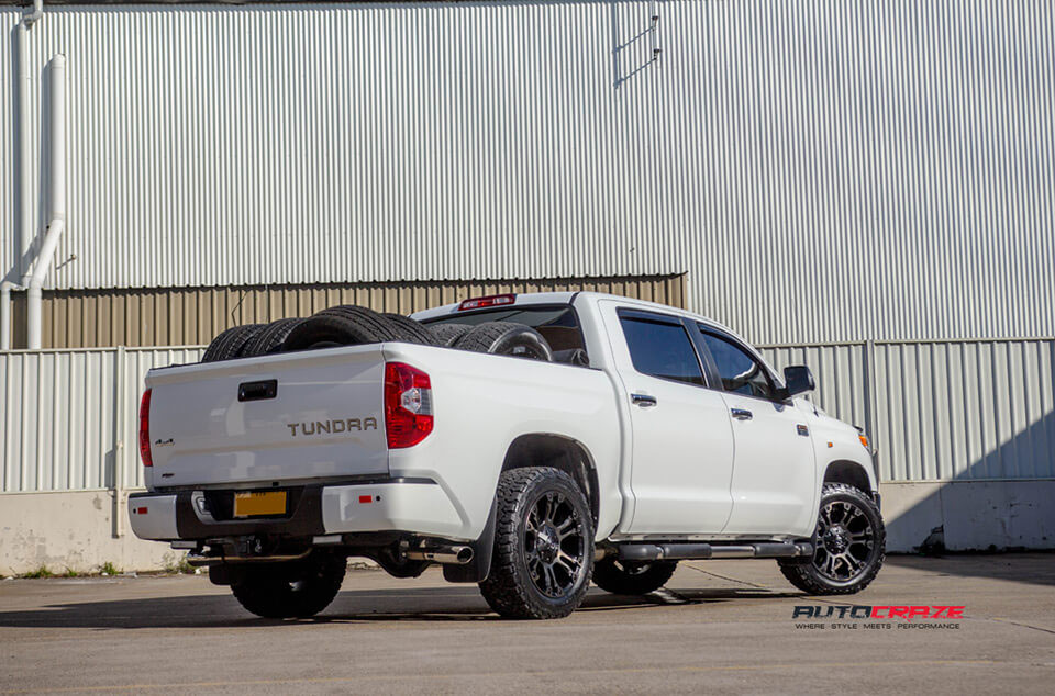 White Toyota Tundra Fuel Vapor Black Machined Dark Tint BF Goodrich All-Terrain Tyres Rear Shot