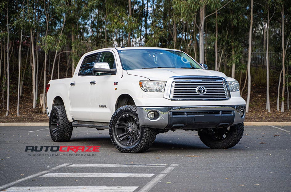 White Toyota Tundra KMC Monster wheels front shot gallery September 2019