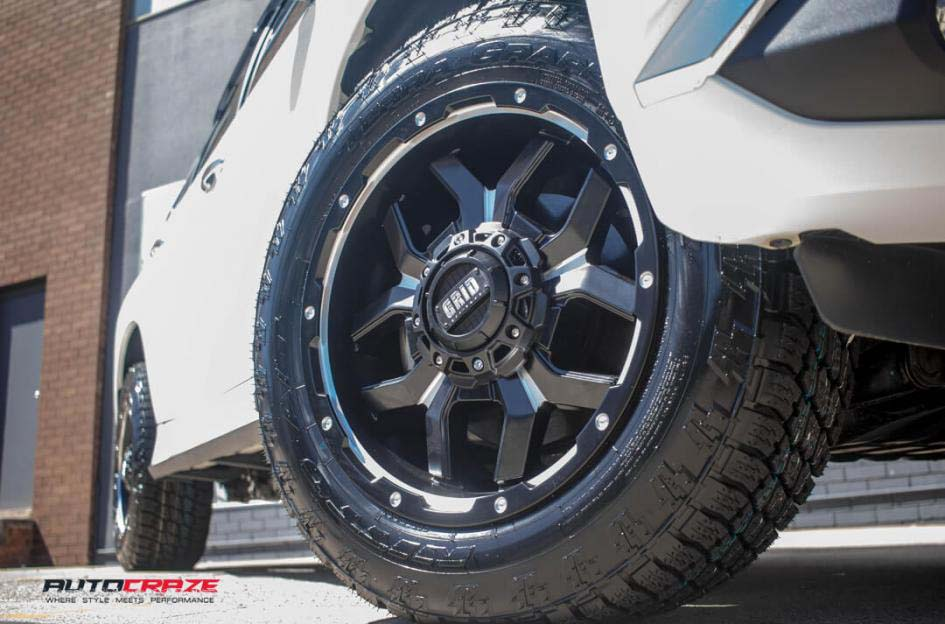 Mitsubishi Pajero Grid Gd Rims Nitto Terra Grappler Tyre Front Wheel Close Up Shot February