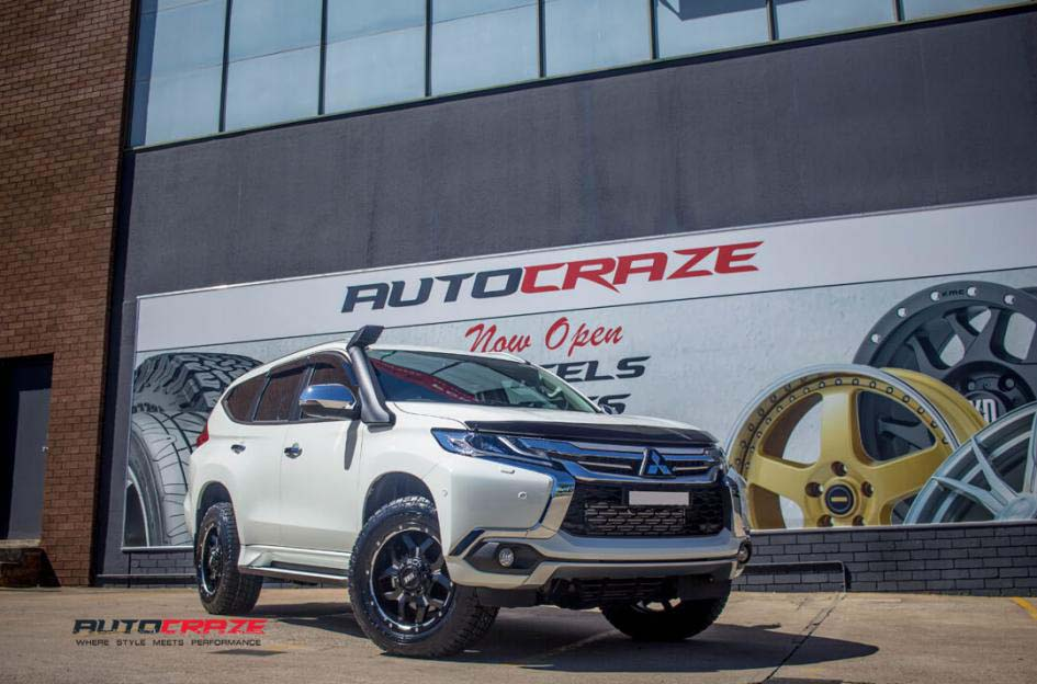 mitsubishi pajero with grid gd 07 rims and nitto terra grappler tyre front wide angle shot february 2018