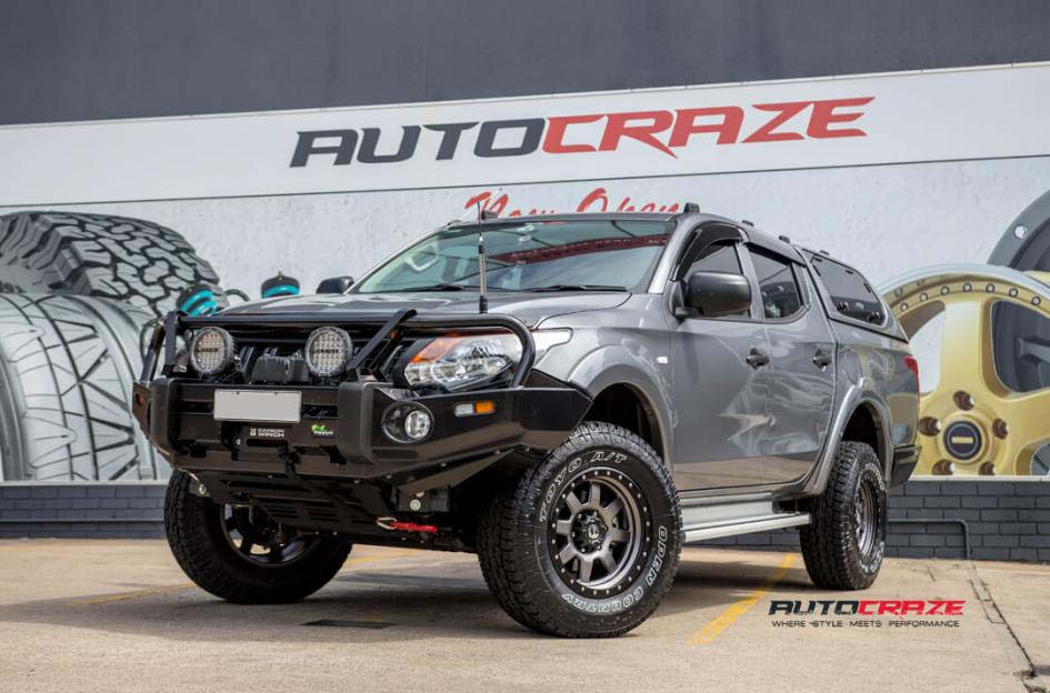 Mitsubishi Triton with Fuel Trophy Wheels and Toyo Open Country Tyres Front Close Shot Janurary 2018