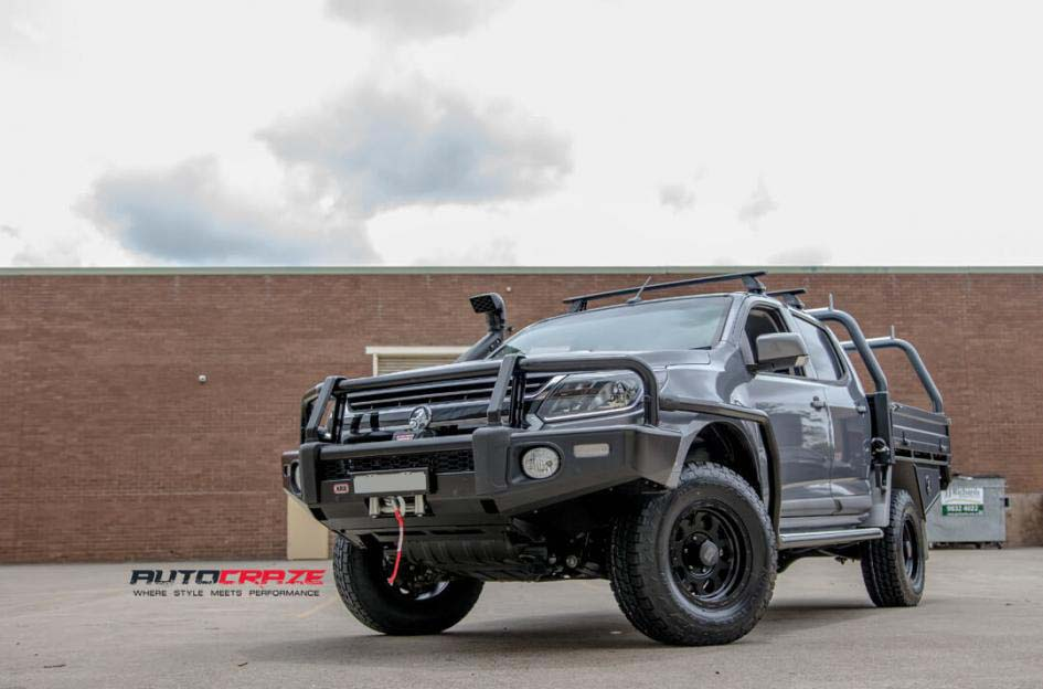 Holden Colorado with KMC Enduro XD Matte Black alloy Wheels and Nitto Terra Grappler Tyres front wide angle Shot Janurary 2018