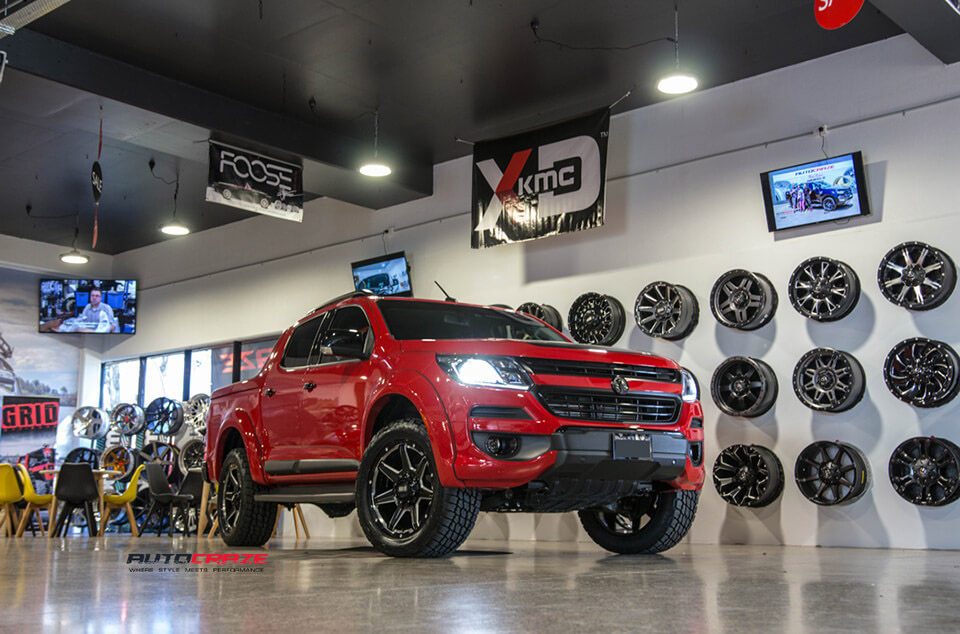 Red Holden Colorado 20 inch Grid GD06 4wd rims gloss black milled accents nitto terra grappler tyres front shot