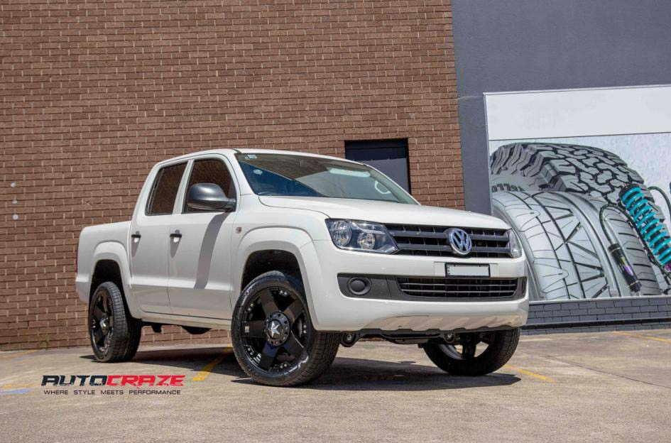 white Volkswagen Amarok with KMC Rockstar alloy wheel frontwide angle shot january 2018
