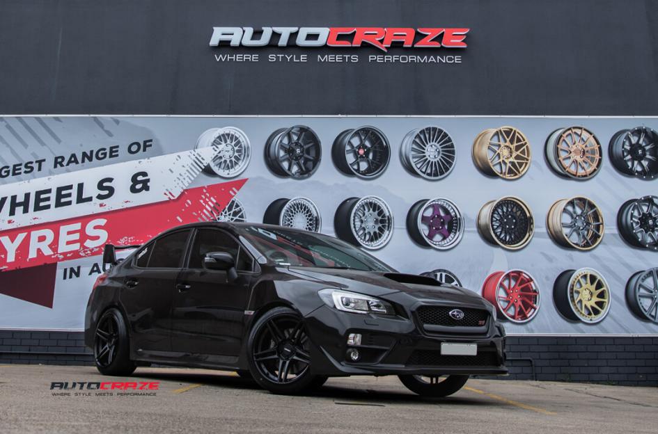 Black Subaru WRX Concave Concept CC03R Nitto Invo Tyres Front Close Shot