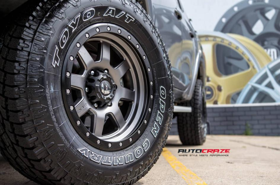 11Mitsubishi Triton Fuel Trophy Wheels Toyo Open Country Tyres Front Fitment Close Up Shot Janurary 2018_large