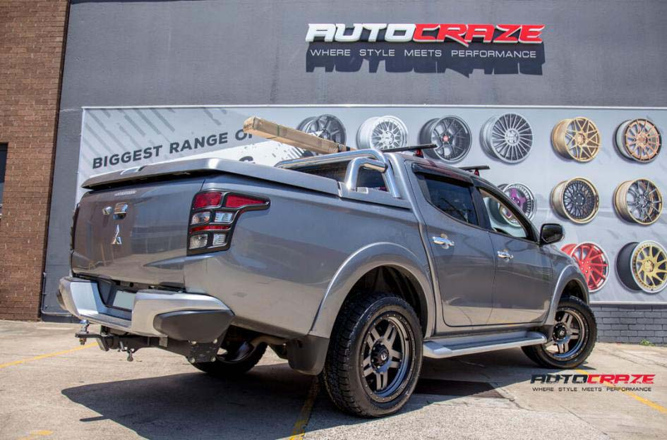 18Mitsubishi Triton with Fuel Anza Wheels and Toyo Open Country Tyres Rear Close Up Shot Janurary 2018_large