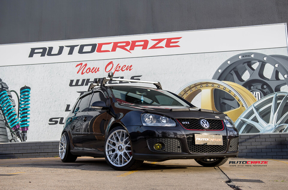 BLACK VOLKSWAGEN GOLF ROTIFORM RSE SILVER WHEELS FRONT SHOT
