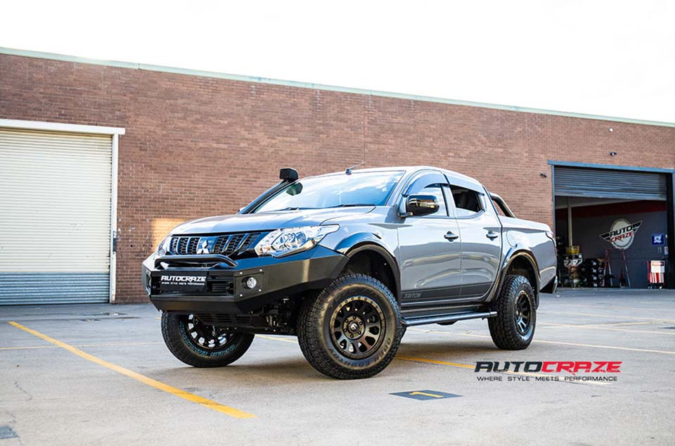 Grey Mitsubishi Triton Fuel Vector Wheels Front Close Shot Gallery August 2018