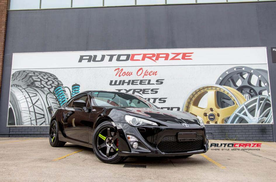 Toyota 86 with rays wheels and achilles tyre front wide angle shot february 2018