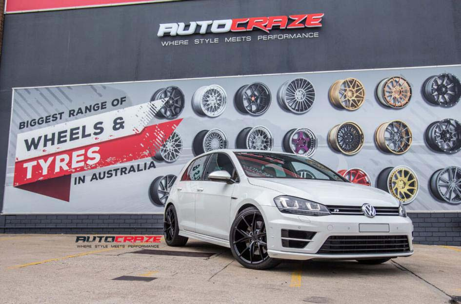 Volkswagen Golf with niche wheels and Kumho tyre front wide angle shot febuary 2018