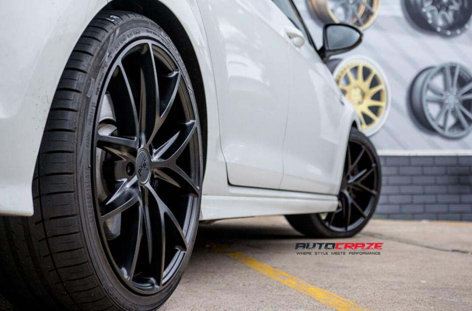 Volkswagen Golf with niche wheels and Kumho tyre rear wheel close up shot febuary 2018