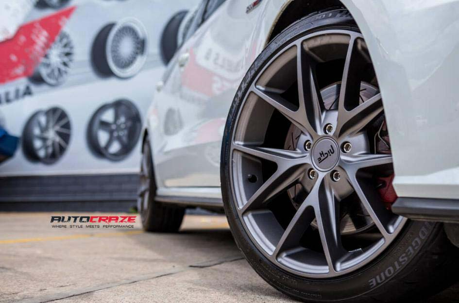 Volkswagen Golf with niche wheels and bridgestone tyre front wheel close up shot febuary 2018