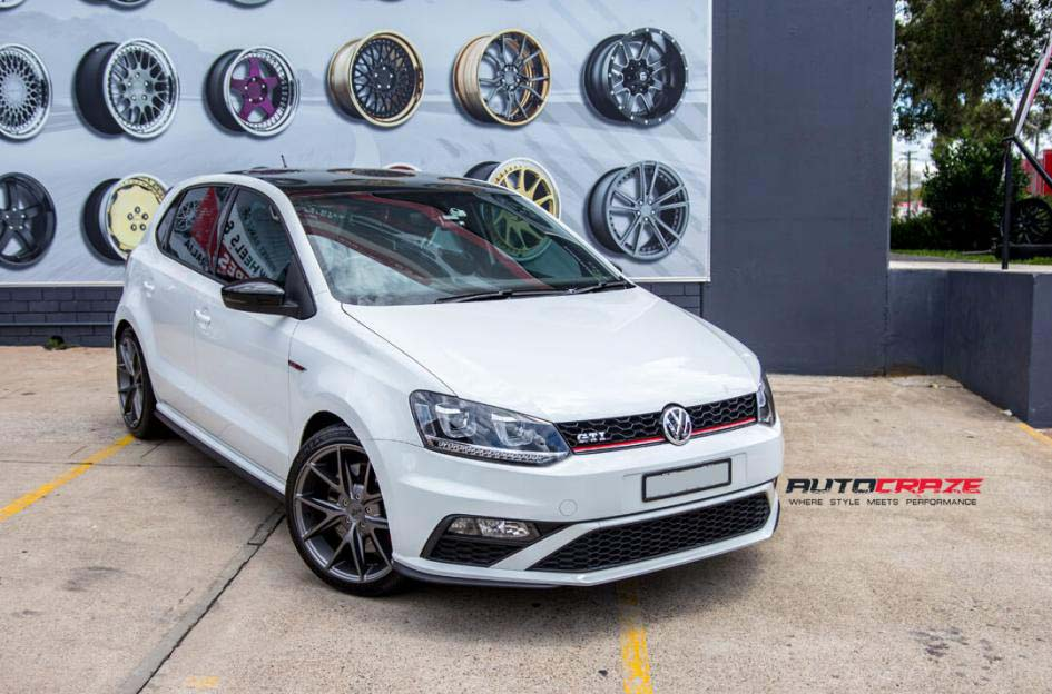 Volkswagen Golf with niche wheels and bridgestone tyre front wide angle shot febuary 2018