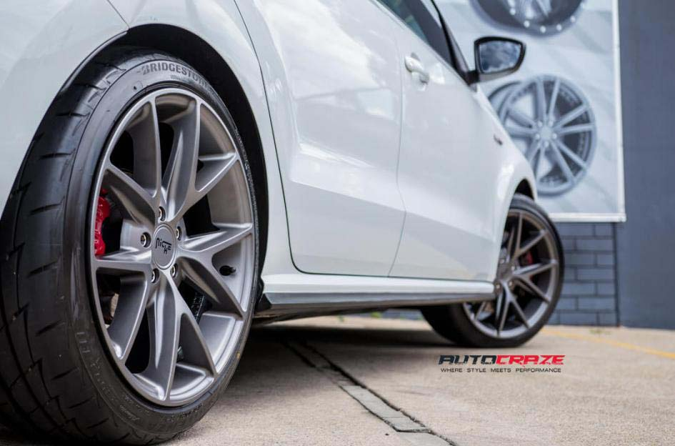 Volkswagen Golf with niche wheels and bridgestone tyre rear wheel close up shot febuary 2018