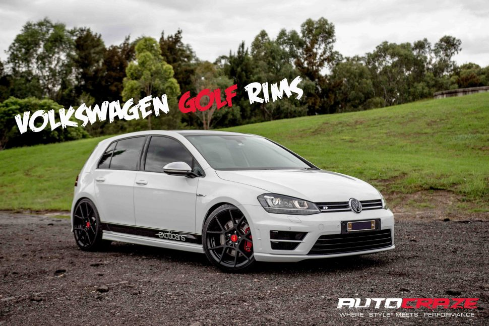 WHITE VOLKSWAGEN GOLF ROTIFORM KPS MATTE BLACK WHEELS FRONT BANNER SHOT