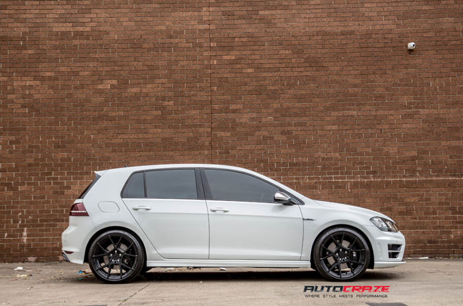 WHITE VOLKSWAGEN GOLF ROTIFORM KPS MATTE BLACK WHEELS SIDE SHOT