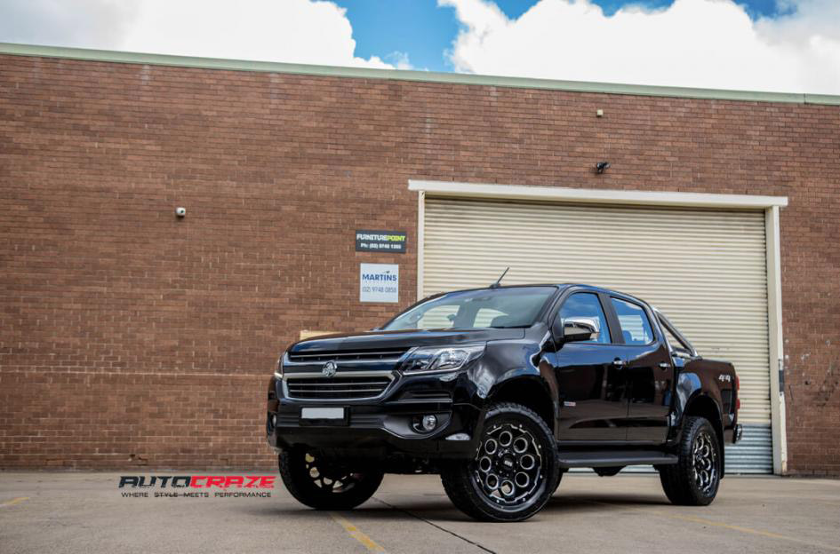 Black Holden Colorado Grid GD08 4x4 wheels Matte Black Milled Accents Nitto Terra Grappler G2 tyres