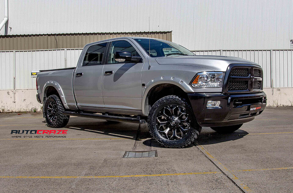 Dodge Ram Fuel Assault Gloss Black Milled Accents 4x4 wheels nitto trail grappler tyres