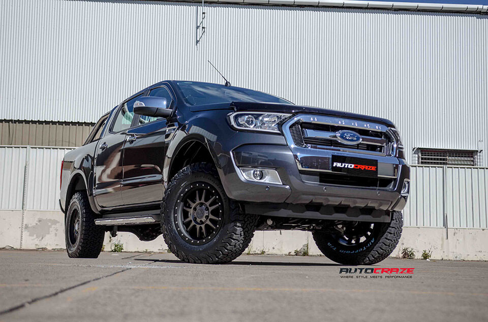 Ford Ranger Black Rhino Tanay matte black machined face bf goodrich tyres front shot