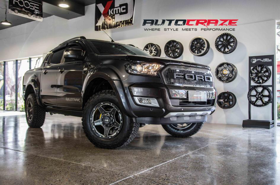 Rampage Ford Ranger Grid GD04 Graphite Milled Accents 4x4 wheels BF Goodrich K02 tyres front shot