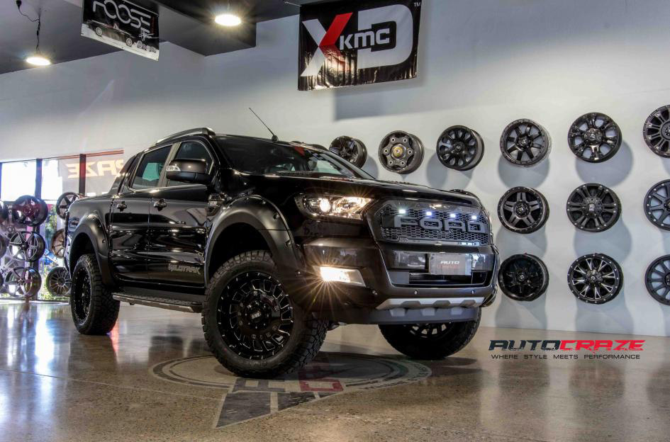Terminator Ford Ranger Grid GD03 Gloss Black Milled Accents 4x4 wheels