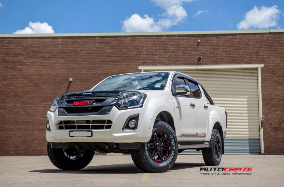 White Isuzu Dmax Tuff T01 Wheels Toyo Open Country Tyres Front S