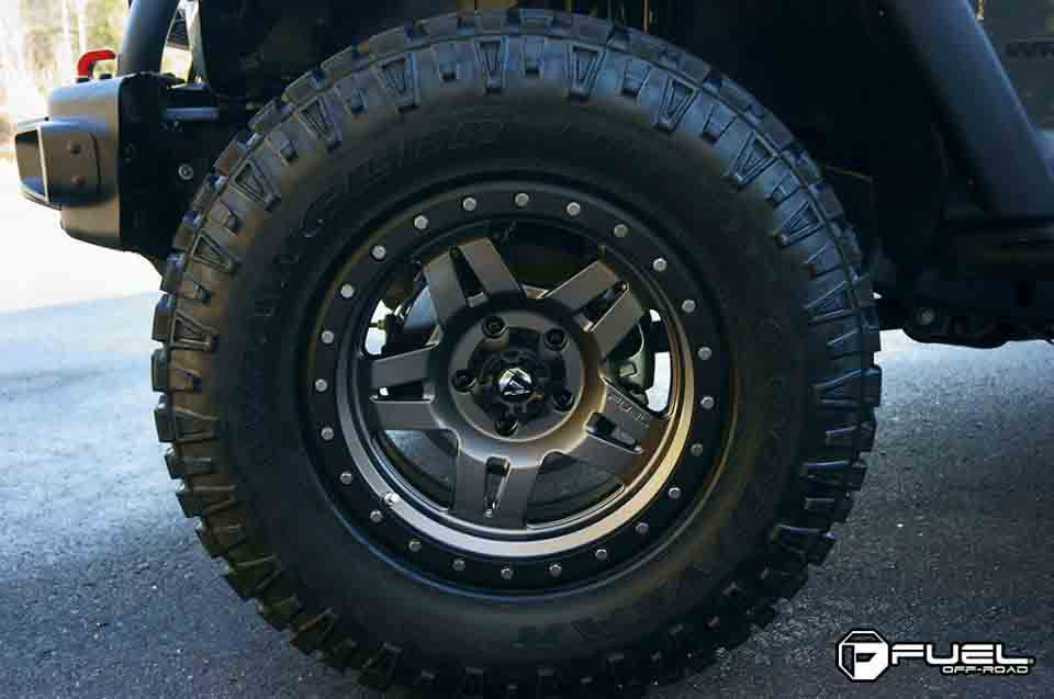 toyota landcruiser with fuel anza wheels and goodyear tyre close front tyre shot