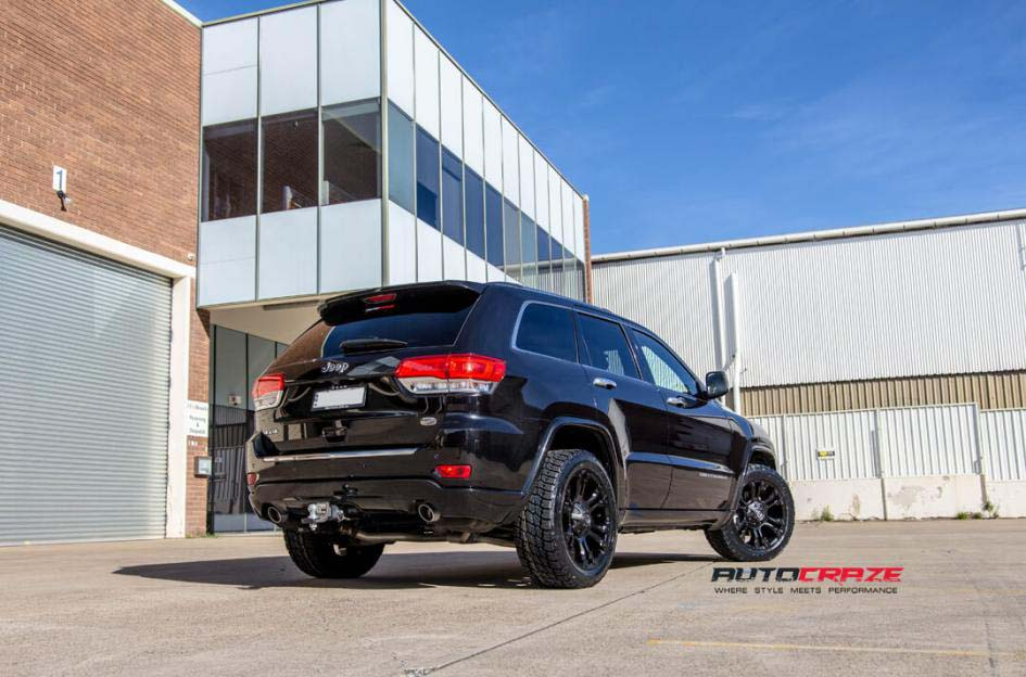 Grand Cherokee with Fuel Vapor wheels and Nitto terra grappler tyre rear wide angle shot february 2018