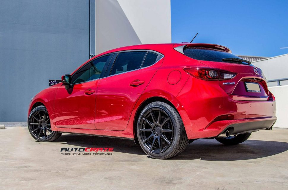 Red Mazda 3 Niche Essen Satin Black Wheels Kumho Tyres Rear Shot