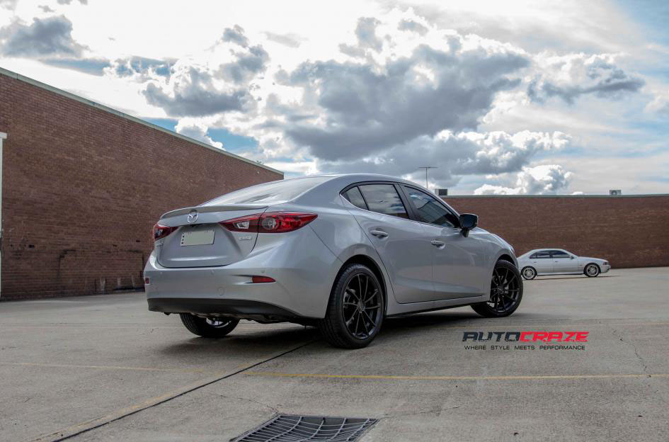 Good Silver Mazda 3 KMC Spin Satin Black Wheels Rear Shot