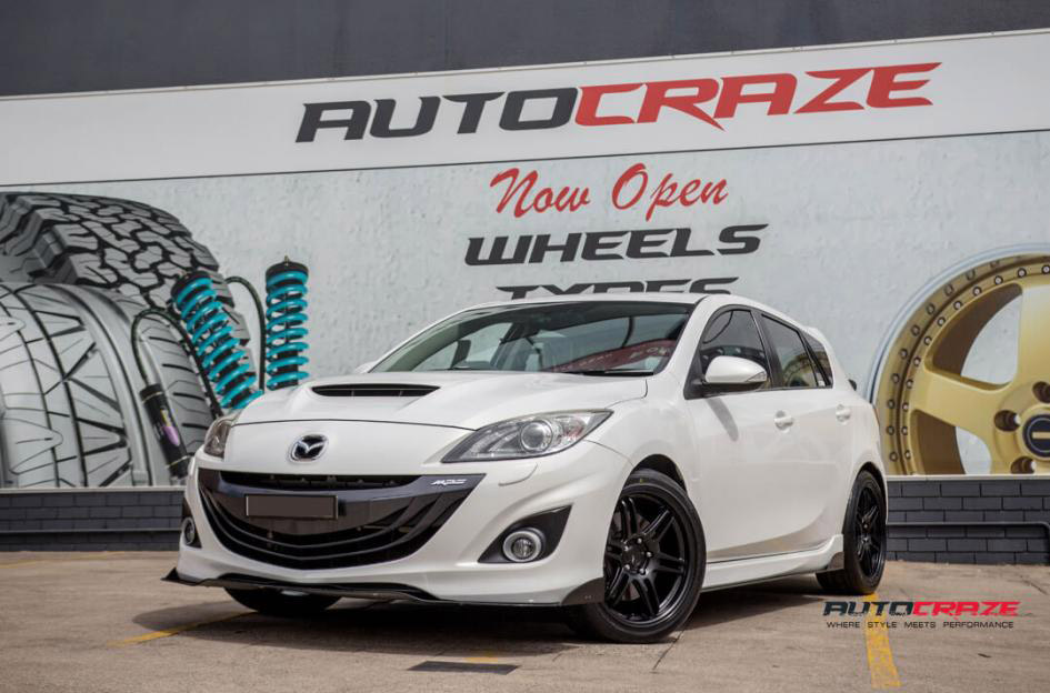 White Mazda 3 Koya SF01 Satin Black Wheels Nitto Invo Tyres Front Shot