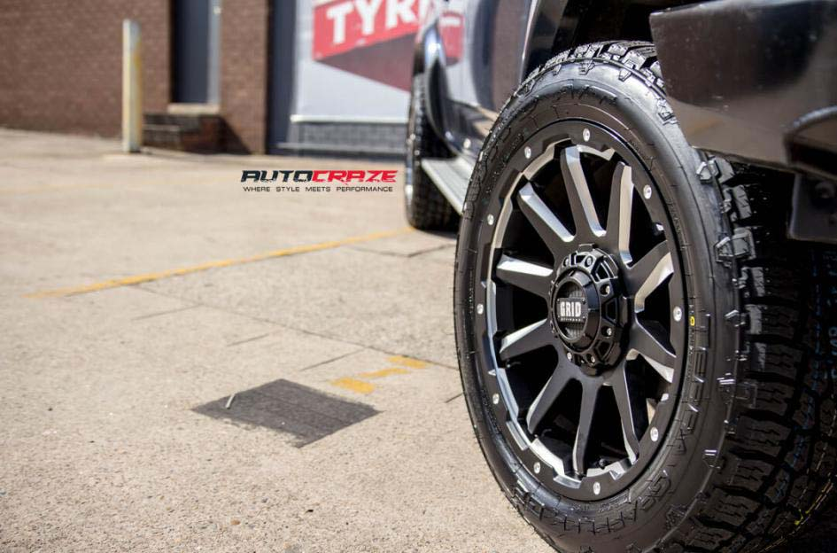 Isuzu Dmax with Grid Gd05 wheel and nitto terra grappler tyre front wheel close up shot february 2018