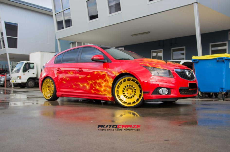 holden cruze with rotiform ccv wheel and kumho tyre front wide angle shot february 2018