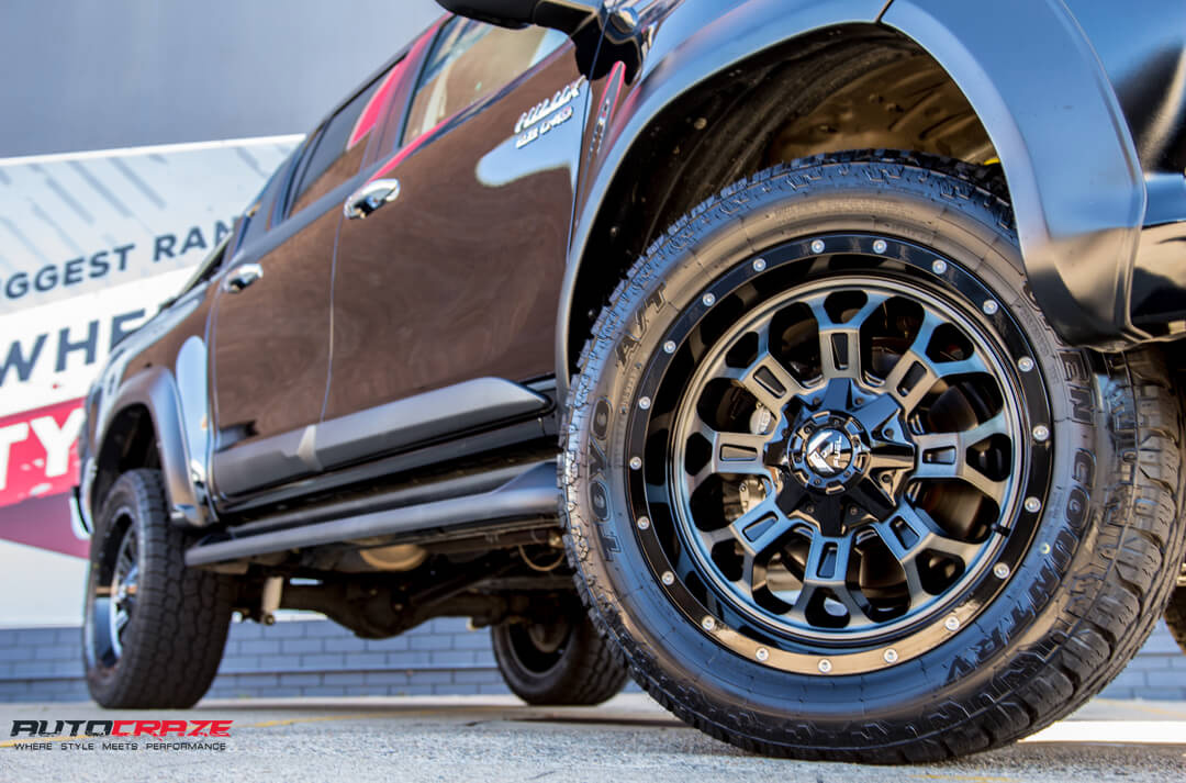 Toyota Hilux Fuel Crush Wheels Toyo Open Country Tyres Front Fitment Close Up Shot Gallery Janurary 2018